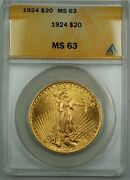 1924 20 St. Gaudens Double Eagle Gold Coin Anacs Ms-63 Bs