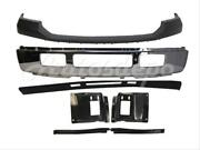For 05 Ford Excursion Front Bumper Blk Up Bar Chr Valance Plate Out Bracket 7pc