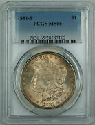 1881-s Morgan Silver Dollar 1 Pcgs Ms-65 Nicely Toned Hd