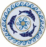 Mosaic Dolphin Medallion For Pool, Wall Or Table - Large 36 - Free Shipping