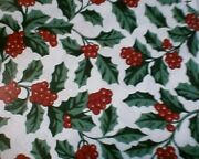 Longaberger Rare Retired Traditional Holly Fabric 41 X 27- 5 Over A Half Yard