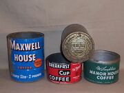 4 Vintage Coffee Metal Tin Cans Thomson And Taylor Mclaughlinand039s Maxwell Bokar