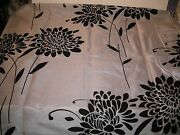 Flocked Flowers Large Bold Glamour Gray Black Textured Fabric Shower Curtain New