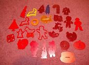 27 Vintage Mid Century Red Plastic And Other Mainly Usa Cookie Cutters