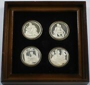 The Four Seasons By Norman Rockwell Sterling Silver Medal Set In Wooden Frame