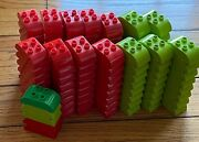 New Lego Duplo Lot Of 125 Pieces Duplo Brick 2x4 Curved Top Red Lime Green