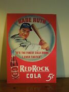 Babe Ruth Red Rock Cola 5 Cents Reproduction Tin Metal Sign Wall Decor