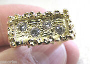 High Quality 14k Gold Menand039s Nugget Diamond Ring Size 7 Make Offer