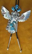 Vintage Navajo Mkd. Sterling Silver Kachina Bolo Artist Sign Turquoise And Corral