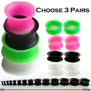 3 Pairs Of Ear Skinstunnels You Pick Colors Silicone Gauges Black Green White