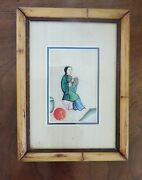 Antique Chinese Watercolor Painting Pith Paper Silk 19th C. Framed Flute Player