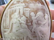 Huge 18k Gold Shell Cameo Pin / Brooch  Roman Bath House With Dog  Make Offer