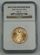 2006-w 25 1/2 Oz American Gold Eagle Coin Ngc Ms-70 Age