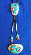Zuni Effie C. Bolo And Belt Buckle Coral And Turq Silver Collectible Native American