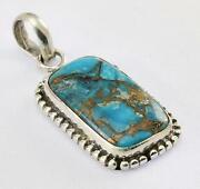 Blue Copper Turquoise Pendant 925 Silver Artisan Jewelry Collection Mg1s167