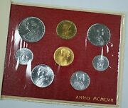 1957 Vatican Mint Set In Original Packaging With Very Scarce 100 Lira Gold Coin