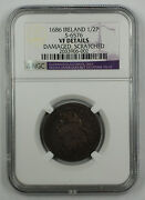 1686 Ireland 1/2 Penny Coin S-6576 Ngc James Ii Vf Details Damaged Scratched Akr