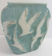 20th C. Phoenix Glass Vase With Embossed Seagulls 7697