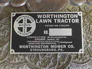 Worthington Lawn Tractor Patent Data Plate Acid Etched Aluminum Stroudsburg Pa.