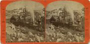 California J.j. Reilly Stereoview 1860s Fire Train At The Summit C.p.r.r. Ca