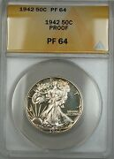 1942 Walking Liberty Silver Half Dollar Anacs Pf-64 Better Coin Lightly Toned
