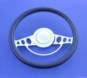 55 56 57 Chevy Impala Style Leather And Chrome Steering Wheel