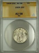 1929 Fh Standing Liberty Silver Quarter 25c Anacs Au-58better Coin Very Choice