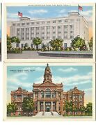 1920-30s And Linen United States And Tarrant Court House Fort Worth Texas Postcards