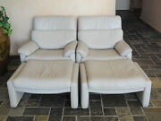 Pair Of Rare 80s Cy Mann Designs - Rolf Benz Leather Recliner Chair And Ottoman