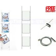 1x3 A2 Wire Cable System Shop Window Acrylic Poster Holder Display Stands
