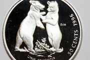 Up For Sale One 1996 Canada Silver 50c Coin Black Bear Cubs Proof Num1250