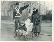 1924 Woman Pushes Vintage Stroller High School Police Melrose Ma Press Photo