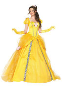 Disney Princess Belle Deluxe Adult Womens Costume Yellow Gown Cosplay Leg Avenue