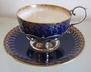 1908 Antique Mintons Tea Cup And Saucer With Sterling Silver Holder And Handle=rare