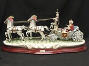 Rare Signed Huge 29 Cortese Capodimonte And Princess In Carriage Figurine