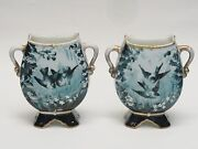 Extremely Rare Pair Of Antique 19c French Gibus And Redon Limoges Porcelain Vases
