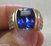 Unisex 10k Synthetic Blue Sapphire And Clear Stone Ring Size 7 Gorgeous