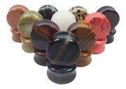 -all 10 Pair- Stone Plugs Organic Double Flare Ear Gauges Body Jewelry Lot 2