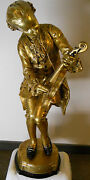 Rare Vintage Marbro Lamp Mozart Gold Leaf 64 Statue Floor Lamp 1940-1950and039s