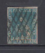Tuscany Sc 13 Used 1857 2cr Blue Lion Of Tuscany, Almost Vf