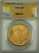 1925 20 St. Gaudens Double Eagle Gold Coin Anacs Ms-63 A