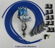 Ford 351w Windsor Blue Small Cap Hei Distributor And Universal Spark Plug Wires 45