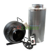 6 Inline Fan Air Blower Speed Controller Hydroponic Odor Scrubber Carbon Filter