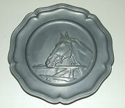 Antique Pewter Decorative Horse Plate With Angel Trademark Made In Holland