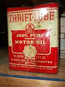 Vintage Thrift Lube 2 Gal Oil Can Sealed Full Gas Station Service Shop Garage