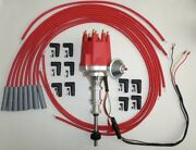 Ford Y Block 272 292 312 Red Small Cap Hei Distributor + Spark Plug Wires Usa