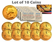 Bicentennial 1976 Quarters Us Coins 24k Gold Plated W/capsules And Coa Lot Of 10