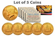 Bicentennial 1976 Jfk Half Dollar Us Coins 24k Gold Plated W/capsules Lot Of 5