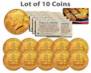 Bicentennial 1976 Jfk Half Dollar Us Coin 24k Gold Plated W/capsules Lot Of 10