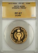 1980 Proof Ethiopia Year Of The Child 400b Birr Gold Coin Anacs Pf-67 Dcam